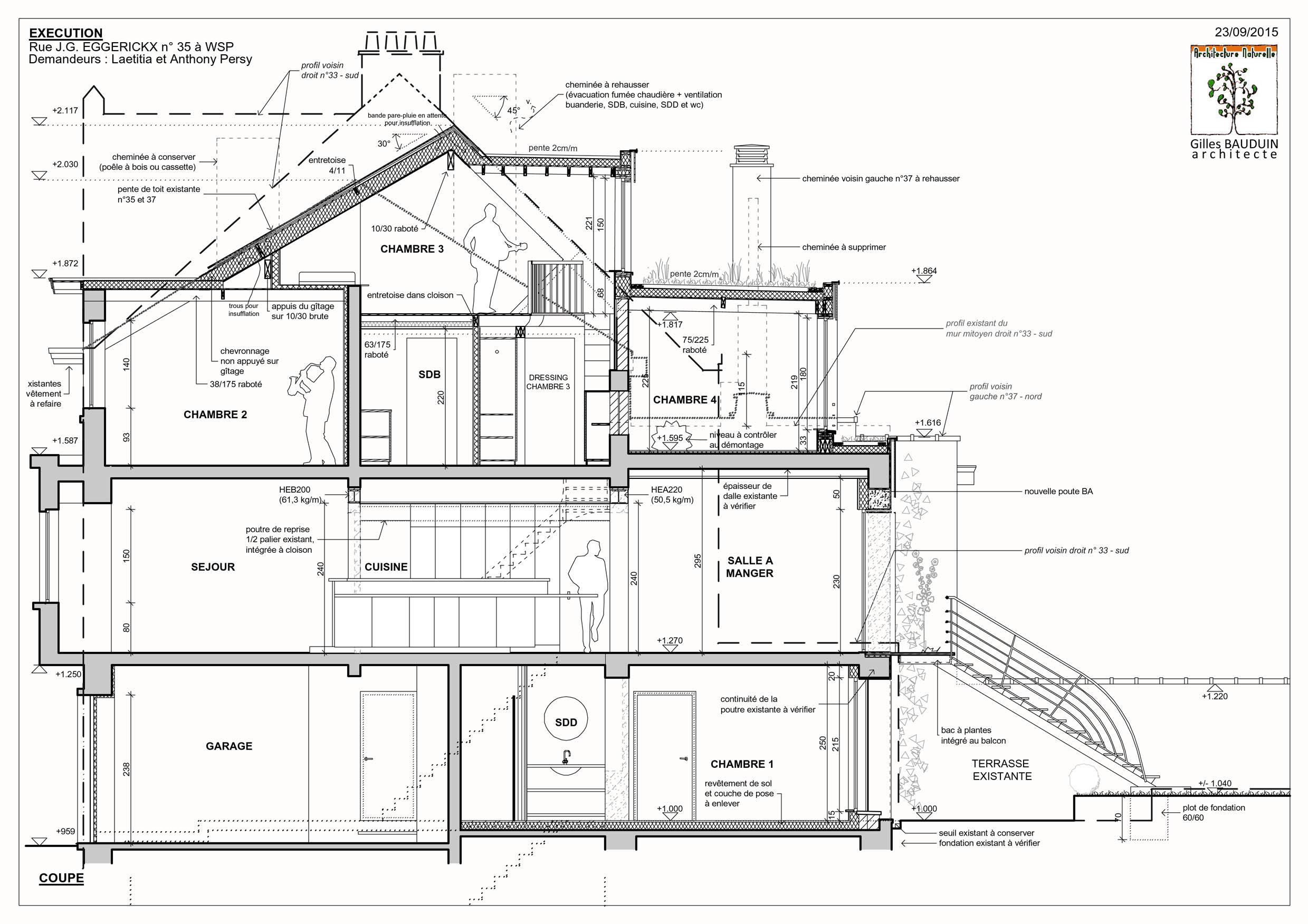 Projets d 39 architecture cologique basse nergie maison for Plan de coupe de maison